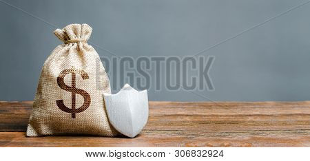 Bag With Dollar Symbol And Protection Shield. Concept Of Protection Of Money, Guaranteed Deposits. C