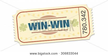 Winning Ticket, Raffle For Win Win Situation. Single Strip Ticket With Lucky Clover, Stars And Winni