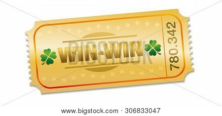 Golden Raffle Ticket With Win Win Situation Prize. Single Strip Ticket With Lucky Clover, Stars And