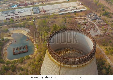 Drone Flies Over Cooling Tower Near Chernobyl Nuclear Power Plant. Chernobyl Nuclear Power Plant. Co