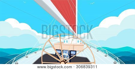 Sailing Ship Banner With Space For Text. Top View Sail Boat On Deep Blue Sea Water. Luxury Yacht Rac