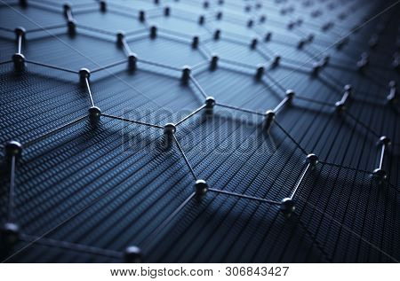 Conceptual Abstract Image With Hexagonal Structure Connection. 3d Illustration Background. Graphene