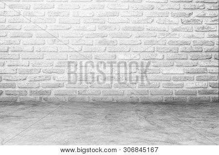White Brick Wall And White Concrete Floor For Background , Blank Concrete Floor And Concrete Wall Fo
