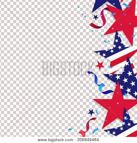 Fourth Of July. 4th Of July Holiday Background. Usa Independence Day Decoration Elements - Confetti