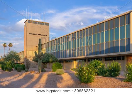 Scottsdale,Az/USA - 6.13.19: General Dynamics, formerly Motorola, the modern style building by Edward l.Varney opened in 1957 is the best example of intact Garden Industrial style architect in Az.