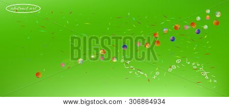 Breezy Space And Signs Confetti. Minimal Colorific Illustration. Background Blend. Ultra Wide Backgr