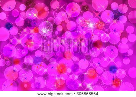 Pink Defocused Bokeh Pattern Wallpaper. Abstract Blurred Background.