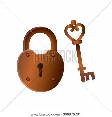 Retro Vintage Closed Bronze Metal Lock With Old Key