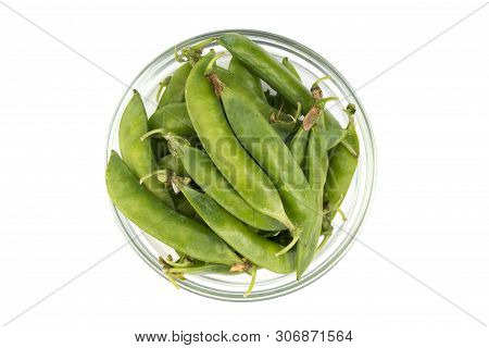 Fresh Green Pea In The Pod Isolated On White Background. Top View. Green Pea With Copy Space For Tex