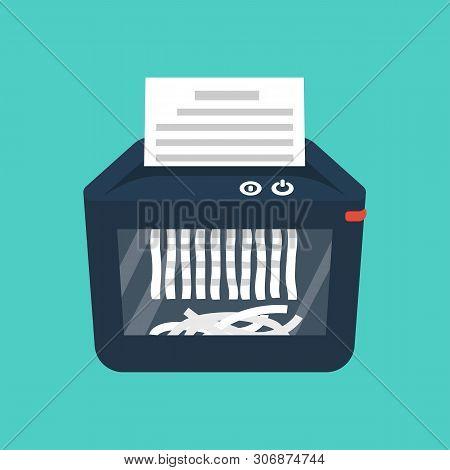 Shredder Machine. Paper Shredder. Destruction Of Documents. Cartoon Style. Vector Illustration Flat
