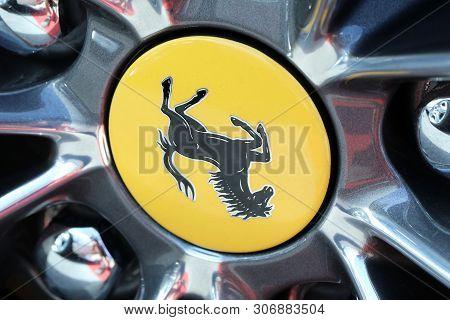 Monte-carlo, Monaco - June 16 2019: Ferrari Prancing Horse Badge (logo) On The Car Alloy Wheel Rim O