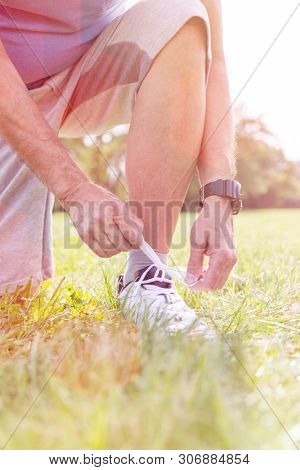 Low section of senior jogger tying shoelace on grassy field poster