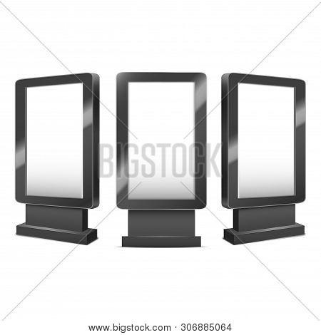 Realistic Detailed 3d Various Black Blank Outdoor Or Indoor Stander Template Mockup Set. Vector