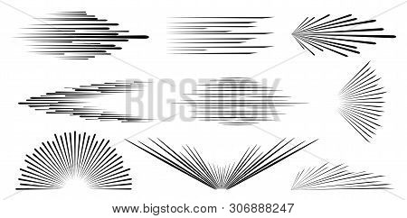 Speed Line. Speed . Background Of Radial Lines. Set Of Various Symbols Of Movement, Speed, Explosion
