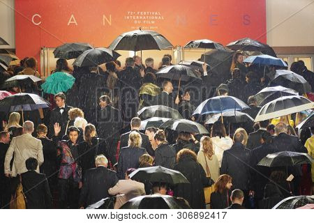 A general view shows guests walking up the stairs of the Palais des Festivals prior to the screening of