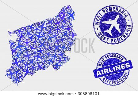 Air Plane Vector West Pomeranian Voivodeship Map Composition And Scratched Seals. Abstract West Pome