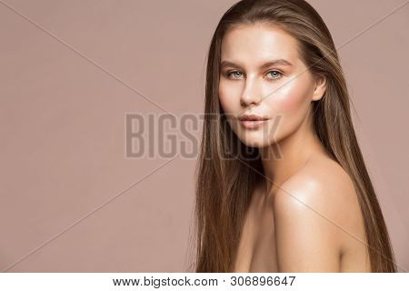 Fashion Model Beauty Makeup, Beautiful Woman Long Hair Wet Skin Make Up, Young Girl Studio Portrait