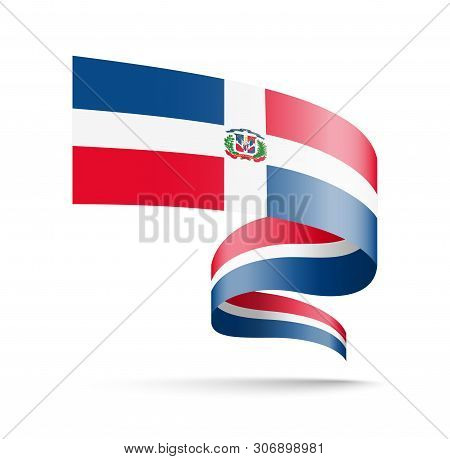 Dominican Republic Flag In The Form Of Wave Ribbon.