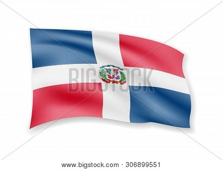 Waving Dominican Republic Flag On White. Flag In The Wind.