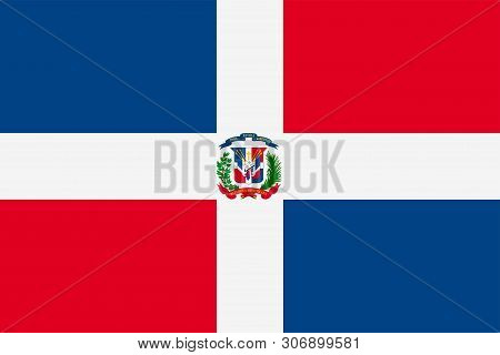 Flag Of Dominican Republic. Sovereign State Flag Of Dominican Republic.