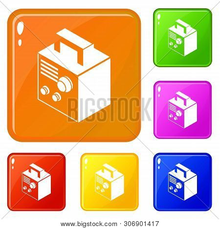 Electro Welding Machine Icons Set Collection Vector 6 Color Isolated On White Background