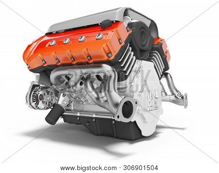 Car Engine Cast Iron Red With Starter 3d Render On White Background With Shadow