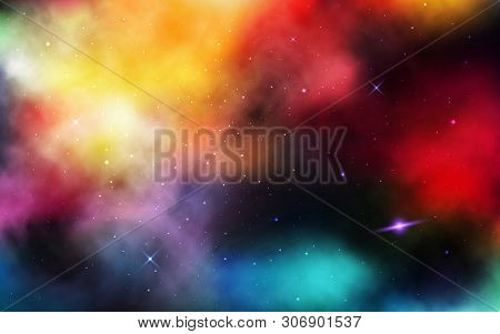 Space Background. Realistic Cosmos With Stardust And Nebula. Colorful Universe With Planet And Milky