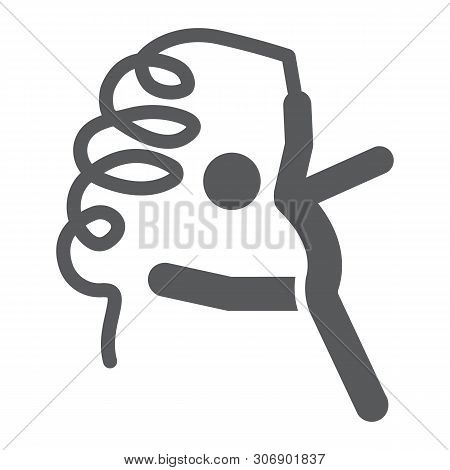 Rhytmic Gymnastic Glyph Icon, Sport And Dance, Gymnast With Ribbon Sign, Vector Graphics, A Solid Pa