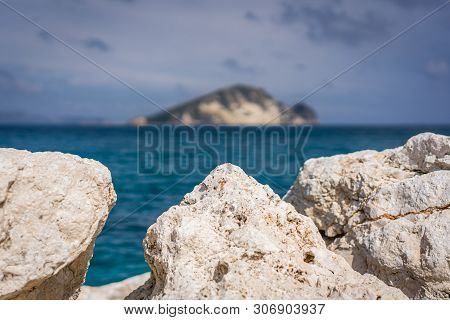 Boulders And Rocks On The Shore Of Keri Beach In Summer On Zante Island, Greece