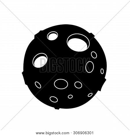 Cute Cartoon Flat Line Moon Silhouette. Funny Vector Black And White Moon Silhouette. Isolated Monoc