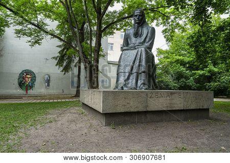 Vilnius, Lithuania. May 2019.   The Statue Of  Zemaite (julija Beniuseviciute-zymantiene, 1845-1921)