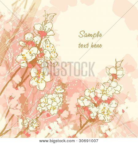 Romantic vector background with cherry blossom