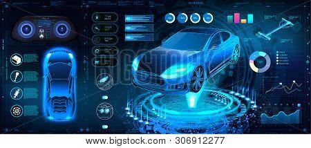 Car Auto Service, Modern Design Hud, Diagnostic Auto Infographic. Futuristic User Interface. Virtual