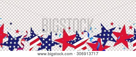 Fourth Of July Background. 4th Of July Holiday Long Horizontal Border. Usa Independence Day Decorati