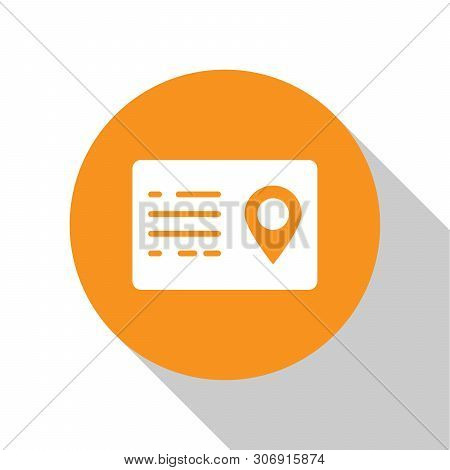 White Address book icon isolated on white background. Telephone directory. Orange circle button. Vector Illustration poster