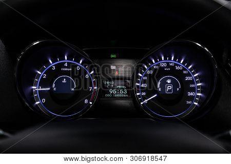 Novosibirsk, Russia - June 14, 2019:  Hyundai Sonata,close-up Of The Dashboard, Speedometer And Tach