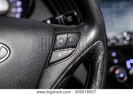 Novosibirsk, Russia - June 14, 2019:  Hyundai Sonata, Car Controller On Steerling Wheel ,music,contr