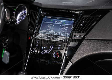 Novosibirsk, Russia - June 14, 2019:  Hyundai Sonata,close-up Of The Dashboard With Information Abou
