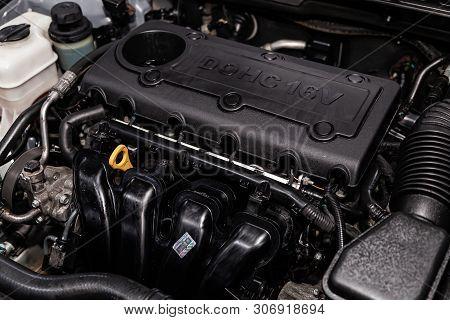 Novosibirsk, Russia - June 14, 2019:  Hyundai Sonata, Close-up Of The Engine, Front View. Internal C