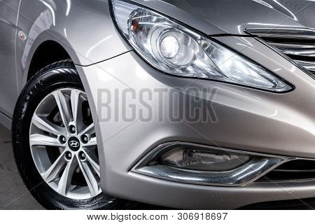 Novosibirsk, Russia - June 14, 2019:  Hyundai Sonata, Close-up Of The Headlight, Bumper, Wheel. Phot