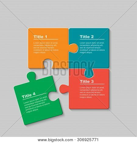 Four Pieces Jigsaw Puzzle Squares Info Graphic.