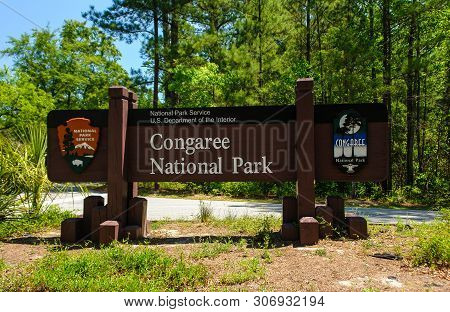 Entrance Sign In Congaree National Park In South Carolina, United States