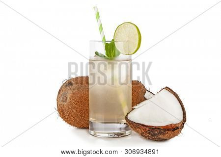 Coconut water drink isolated on white background