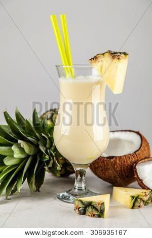 Pina Colada Cocktail on neutral background