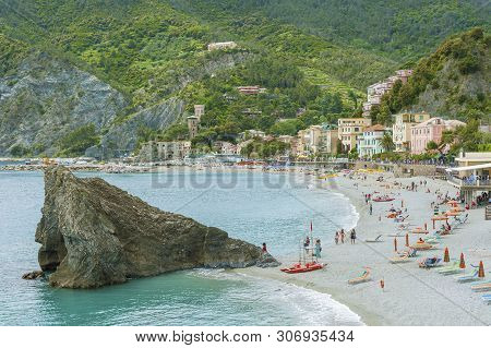 Monterosso, Italy - May 16 ,2014 : Beach In Resort Village Monterosso Of Cinque Terre, Italy On May