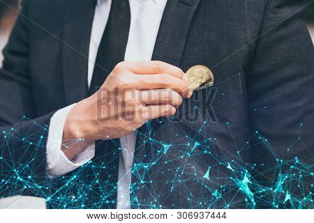 Businessmen Collect Bitcoins In Their Pocket- Electronic Virtual Money For Web Banking And Internati