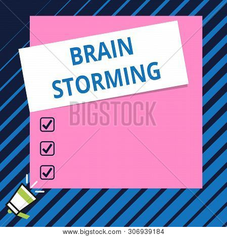 Conceptual Hand Writing Showing Brain Storming. Business Photo Showcasing Stimulating Creative Think