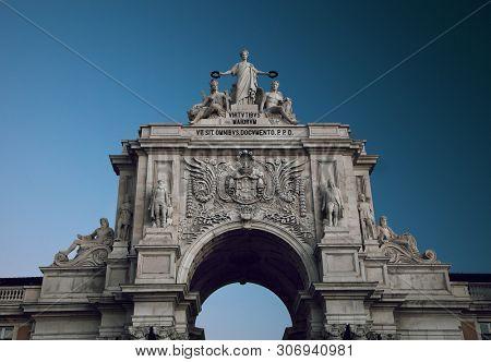 Detail of the Rua Augusta Arch, Lisbon, Portugal.