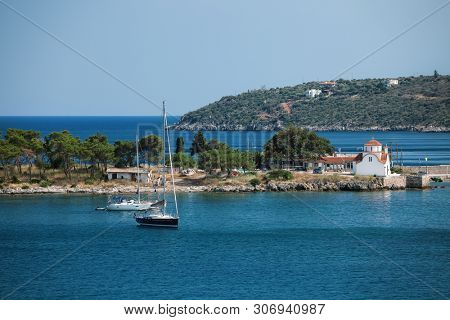Seascape with Church near Gythio. Laconia, Peloponnese, Greece.