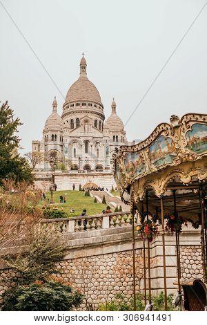 Paris, France - April 9, 2019: Basilique Du Sacre-coeur In Spring With Carousel.